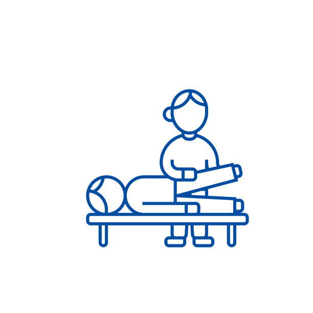 Osteopathy,manual therapy,massage line icon concept. Osteopathy,manual therapy,massage flat  vector symbol, sign, outline illustration. Osteopathy,manual therapy,massage line concept icon. Osteopathy,manual therapy,massage flat  vector website sign, outline symbol, illustration. dorsal surface stock illustrations