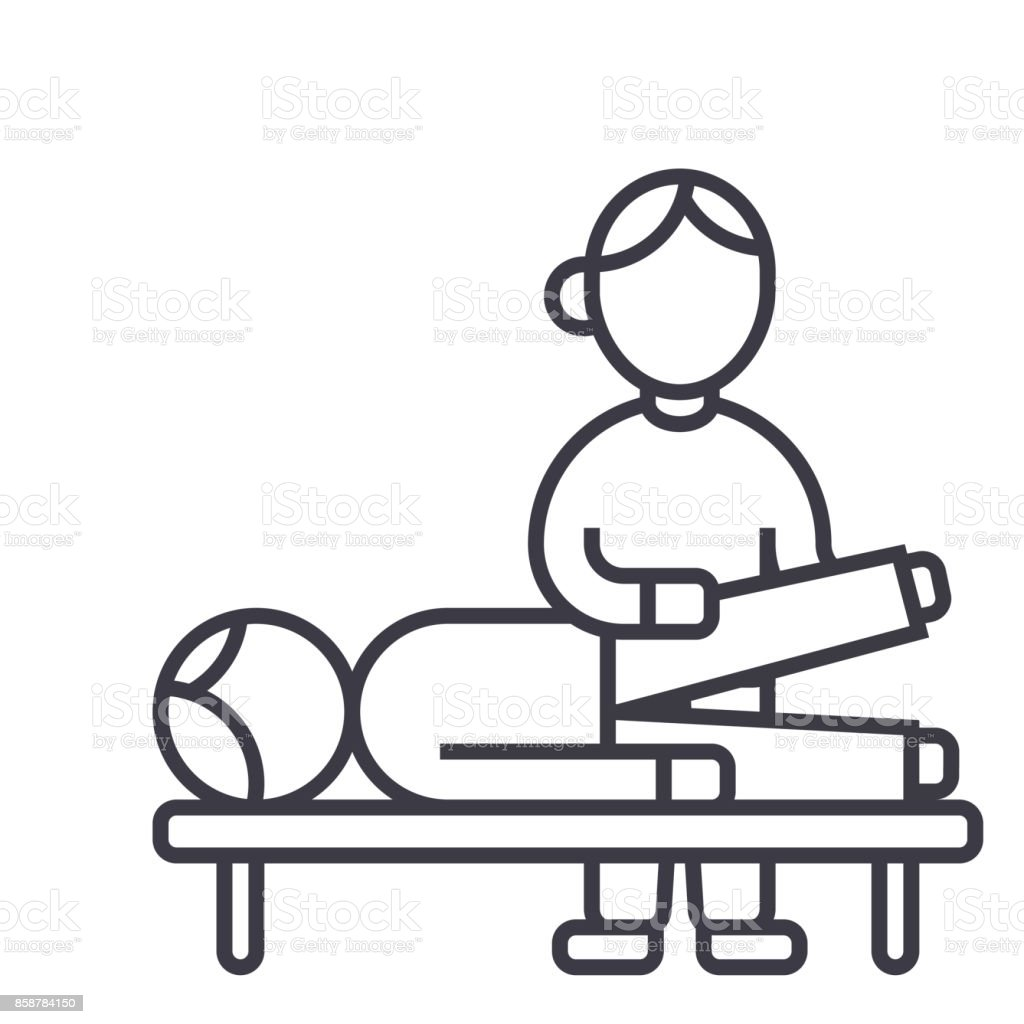 osteopathy,manual therapy,massage vector line icon, sign, illustration on background, editable strokes vector art illustration