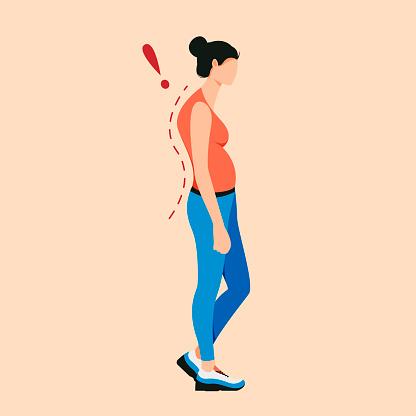 Osteoporosis flat cartoon illustration.