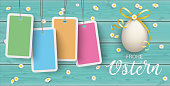 """German text """"Frohe Ostern"""", translate """"Happy Easter"""". Eps 10 vector file."""