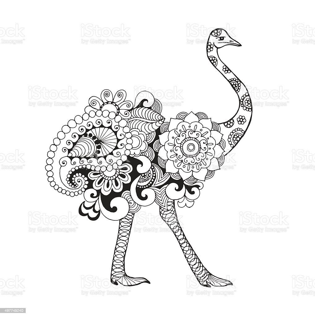 Line Art Emui : Ostrich bird stock vector art more images of