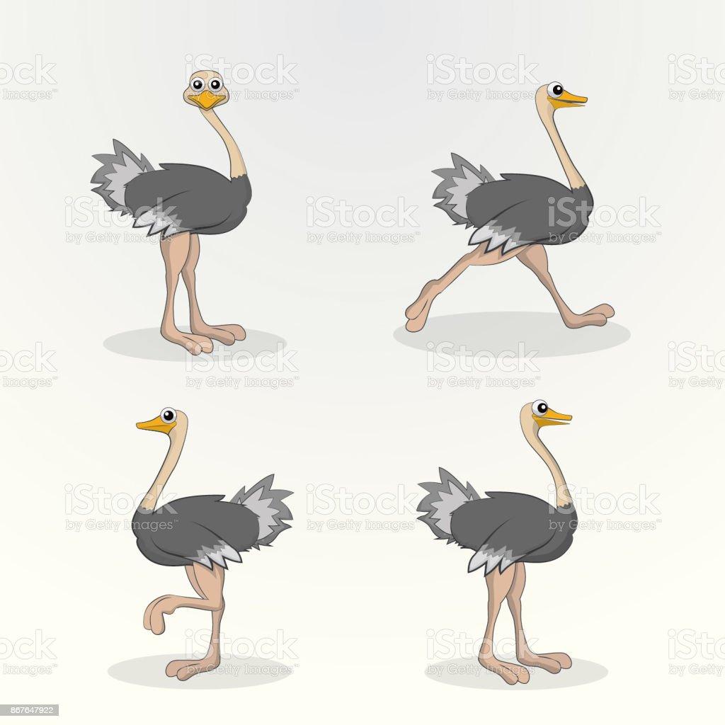 Avestruz Cartoon personagem - ilustração de arte em vetor