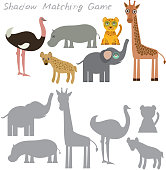 Ostrich elephant giraffe hippopotamus hyena leopard isolated on white background, Shadow Matching Game for Preschool Children. Find the correct shadow. Vector