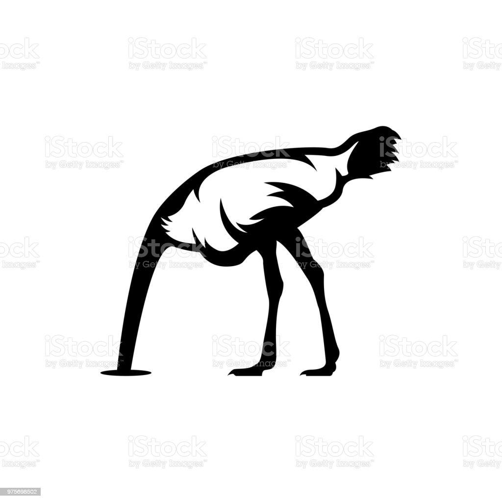 cabeça de avestruz na areia - ilustração de arte em vetor