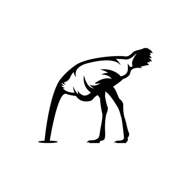 tête d'autruche dans le sable - Illustration vectorielle