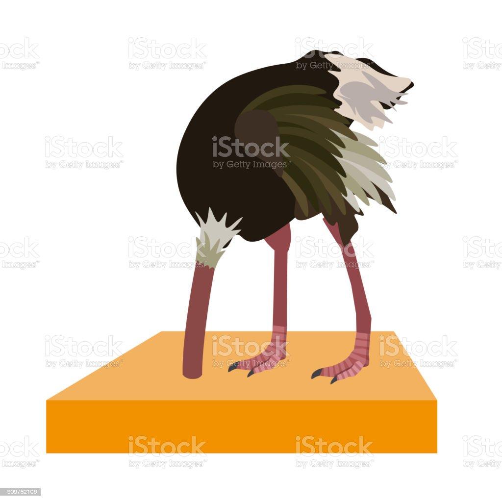 Avestruz esconde a cabeça na areia - ilustração de arte em vetor