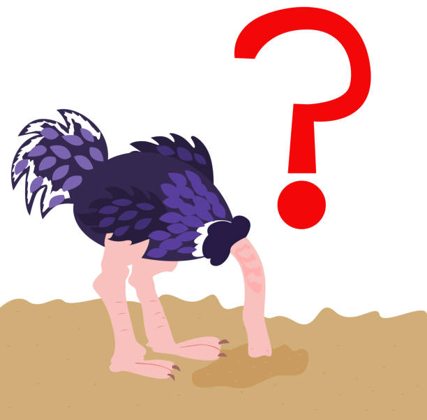 ostrich hiding its head into the sand vector art illustration