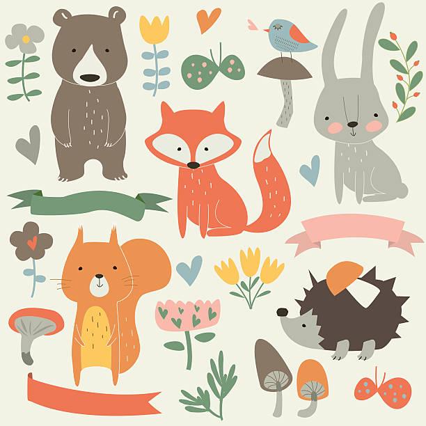 otheranimalspopcolor Set of forest animals in cartoon style. Cute hedgehog, birds, bear, fox, hare, mushrooms, elk, snail, squirrel, butterflies and flowers bedroom patterns stock illustrations