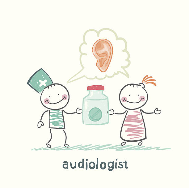 otolaryngologist says ear disease and gives the patient a tablet vector art illustration