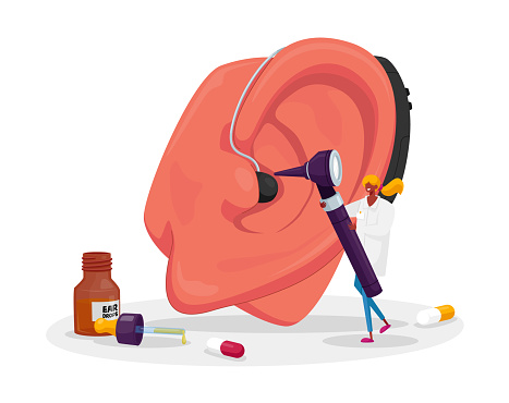 Otolaryngology Medicine, Deafness Disease Concept. Tiny Ent Doctor Character Examined Huge Patient Ear with Otoscope. Hearing Loss Problem, Deafness, Installing Deaf Aid. Cartoon Vector Illustration