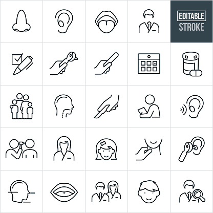 A set of ENT icons that include editable strokes or outlines using the EPS vector file. The icons include an ear nose and throat doctor, ENT, otolaryngologist, human nose, human ear, human mouth, human throat, checklist, otoscope, tongue depressor, calendar, medication, family, surgery, medical checkup, nurse, little girl, little boy, doctor search and other related icons.