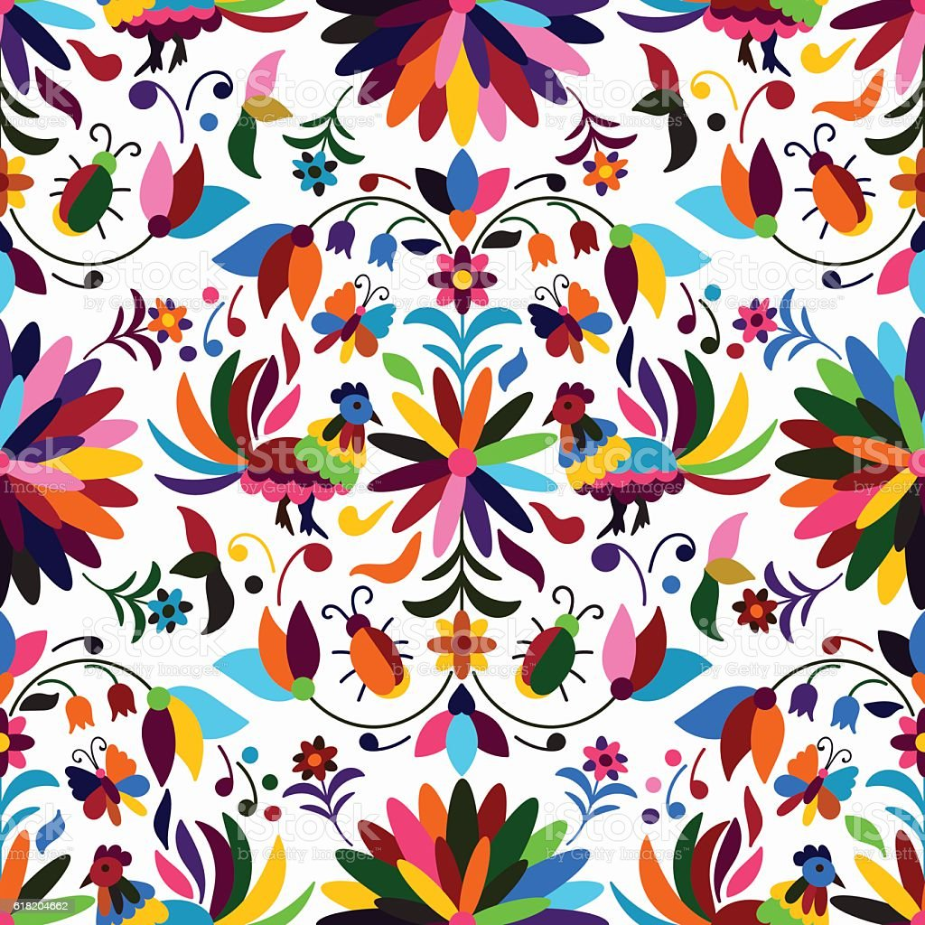 Otomi Style Seamless Pattern vector art illustration
