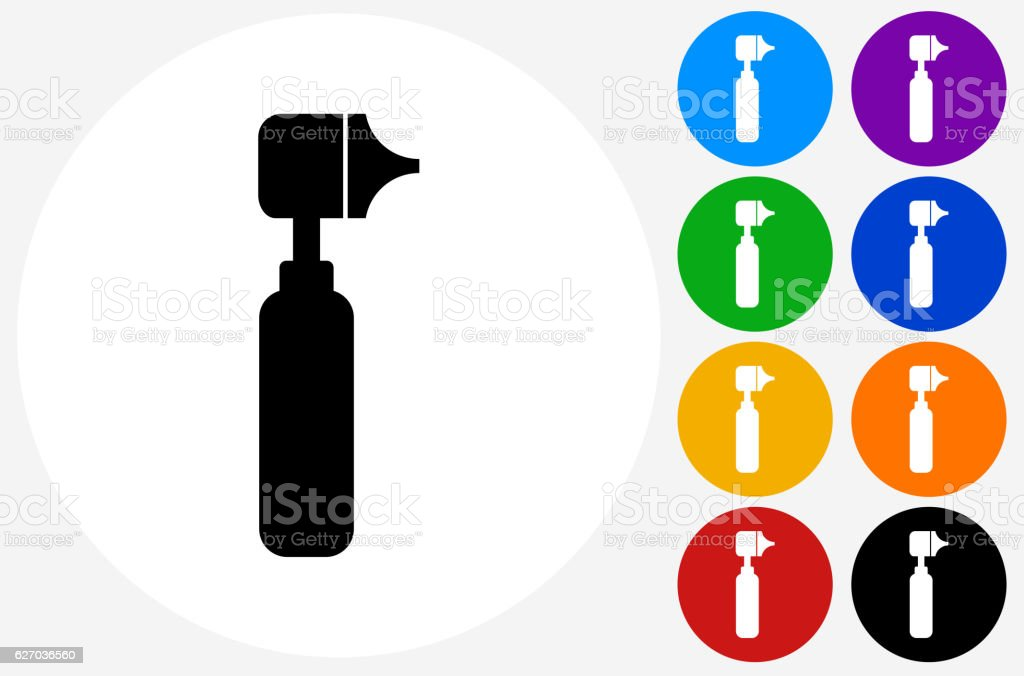 Otoscope Icon on Flat Color Circle Buttons vector art illustration