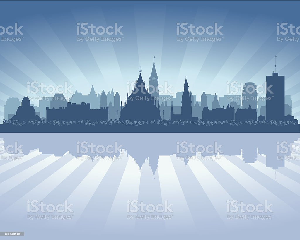 Ottawa Canada Blue City skyline silhouette royalty-free stock vector art