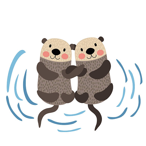 otter couple holding hands animal cartoon character vector illustration. - otter stock illustrations, clip art, cartoons, & icons