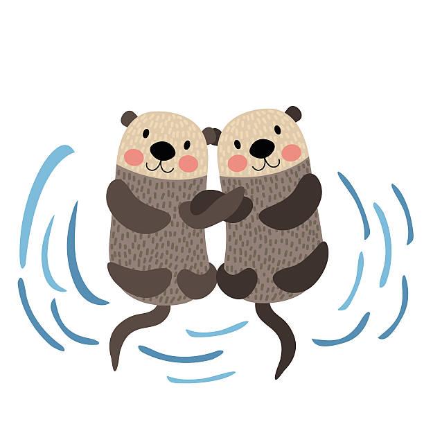 illustrazioni stock, clip art, cartoni animati e icone di tendenza di otter couple holding hands animal cartoon character vector illustration. - fiordi
