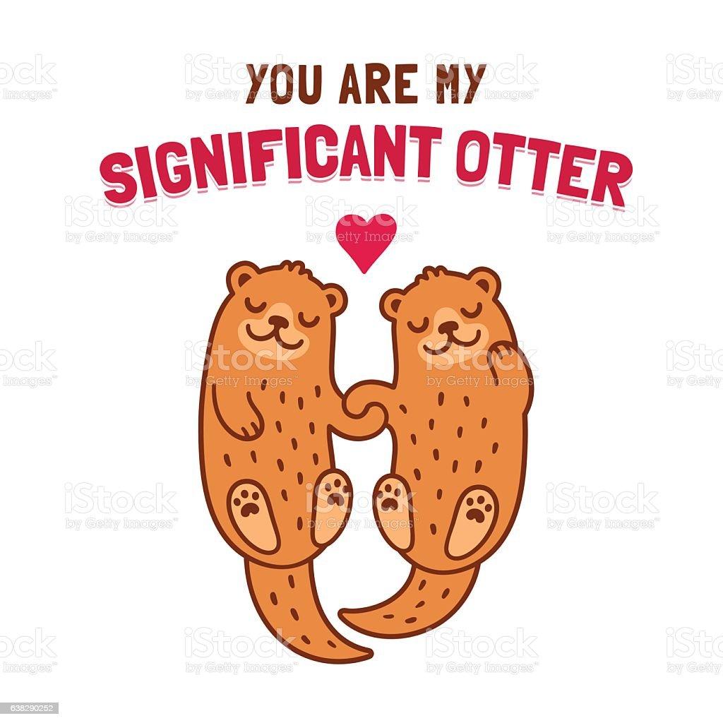 Otter couple holding hands - Illustration vectorielle