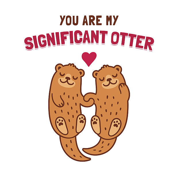 Otter couple holding hands Cute cartoon otter couple holding hands with text You Are My Significant Otter. Funny Valentine's Day greeting card illustration. animal valentine stock illustrations
