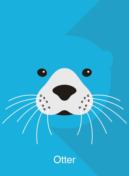 otter face flat icon design, vector illustration - otter stock illustrations, clip art, cartoons, & icons