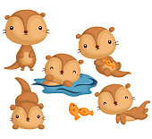 many poses of a cute otter in a single image