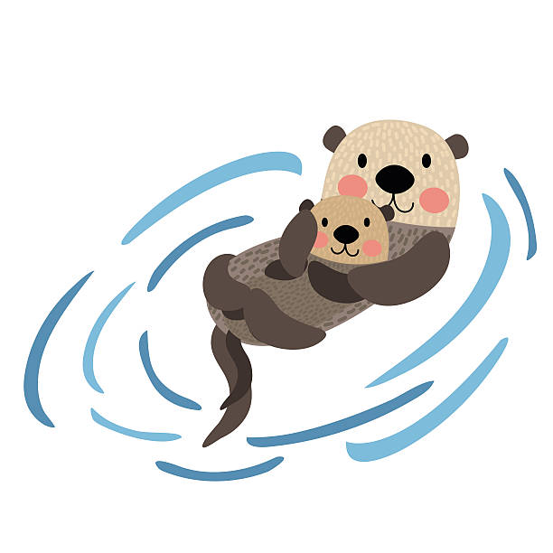 otter mother and child animal cartoon character vector illustration. - otter stock illustrations, clip art, cartoons, & icons