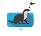 otter want to eat fish, vector illustration