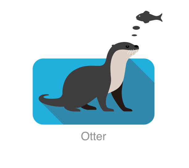 otter want to eat fish, vector illustration - otter stock illustrations, clip art, cartoons, & icons