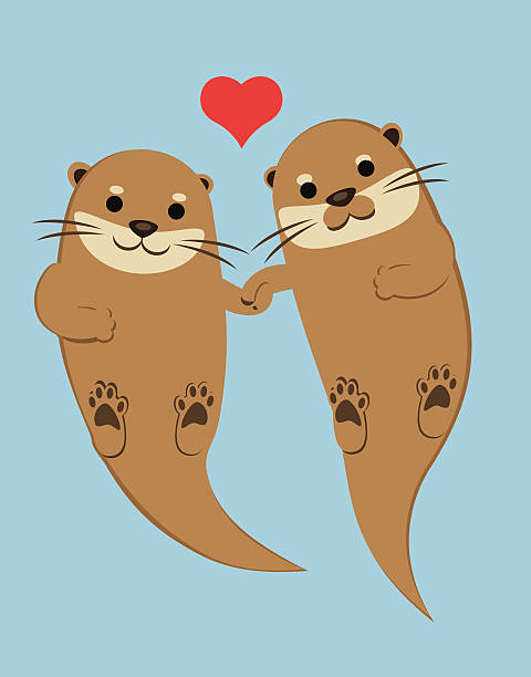 otters holding paws - otter stock illustrations, clip art, cartoons, & icons