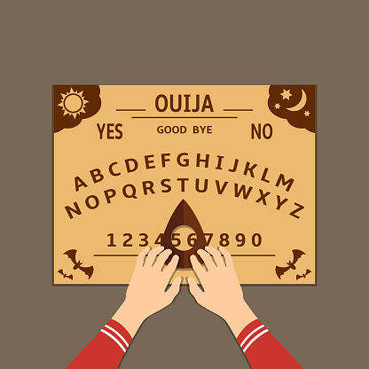 Ouija board flat design illustration