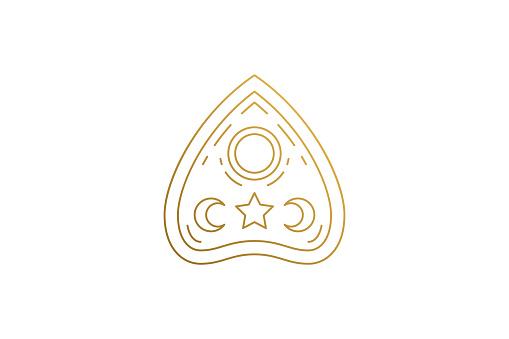 Ouija board pointer withcraft silhouette linear vector illustration. Occult magic halloween mystic arrow symbol
