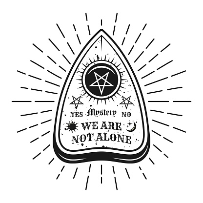 Ouija pointer with rays vector apparel design t-shirt print in vintage style isolated on white background