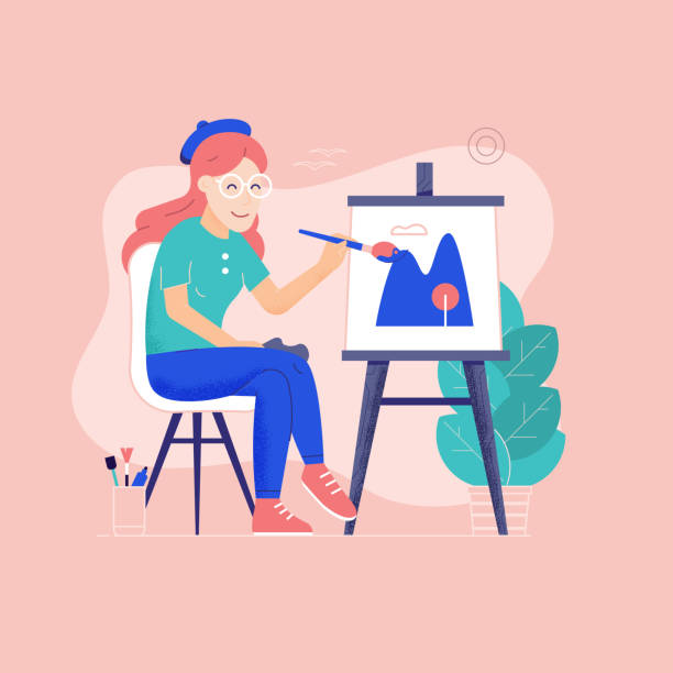 oung Woman Painter Drawing Picture on Canvas vector art illustration
