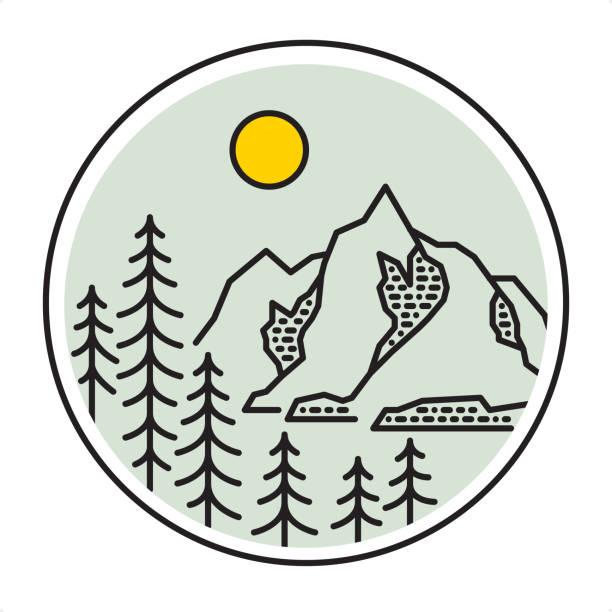 мountain waldlandschaft - gliederung stil natur - nationalpark stock-grafiken, -clipart, -cartoons und -symbole