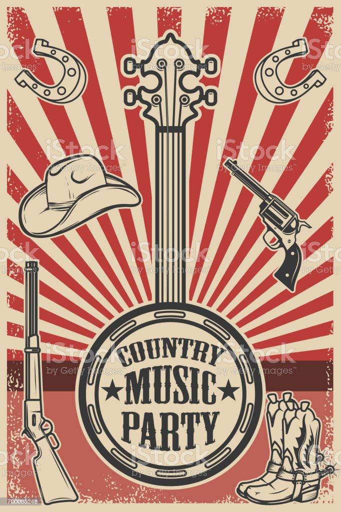 Modèle d'affiche de groupe de musique de Сountry. Vintage banjo sur fond grunge. Chapeau de cowboy et bottes, revolver, fusil. Illustration vectorielle - Illustration vectorielle