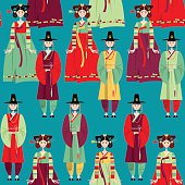Сouple in traditional korean dresses. Hanbok. Seamless background pattern.