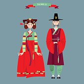 Сouple in traditional korean dresses. Hanbok.