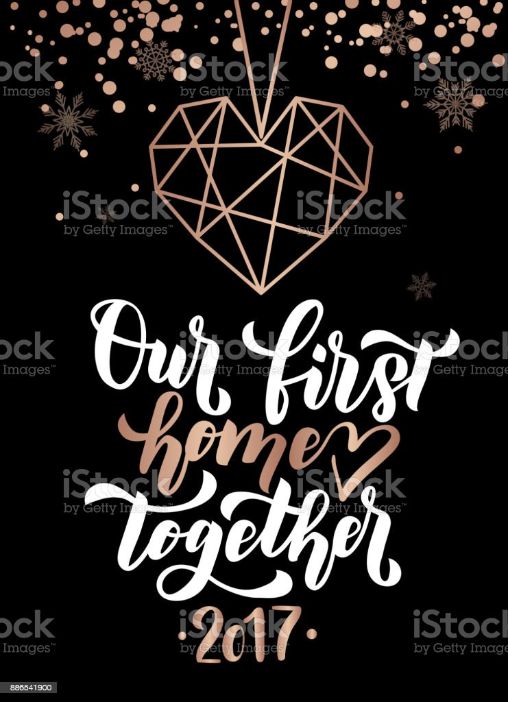 our first home together merry christmas and happy new year rose gold greeting card