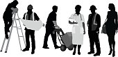 Group of silhouette people representing a variety of trades.  A woman is dressed up as a nurse.  Another is posing as a business woman.  A man stands on a ladder and look at the construction plans shown to him by his boss.  A man appears to be doing deliveries.