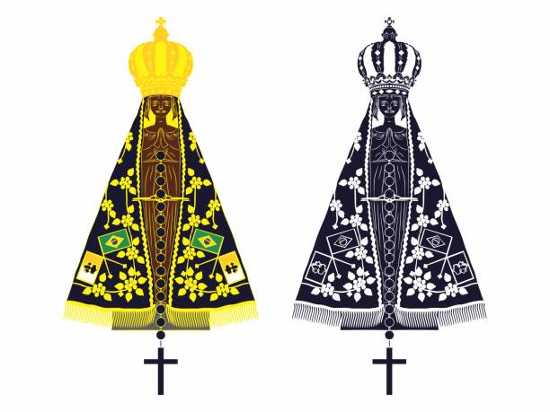 ilustrações de stock, clip art, desenhos animados e ícones de our lady aparecida set with different colors and rosary - milagre evento religioso
