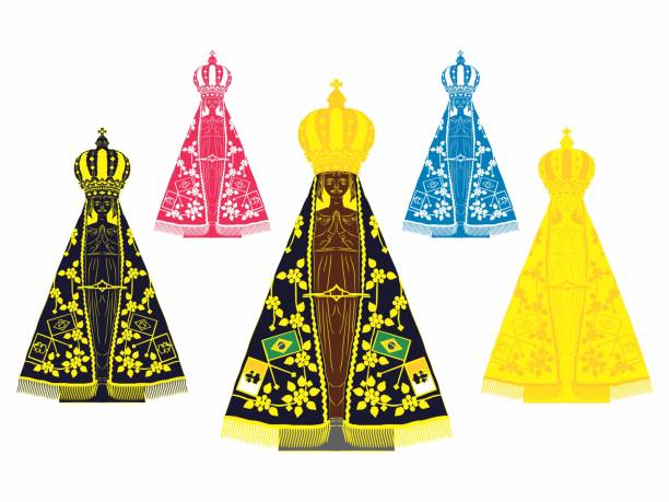 ilustrações de stock, clip art, desenhos animados e ícones de our lady aparecida set with different colors - milagre evento religioso