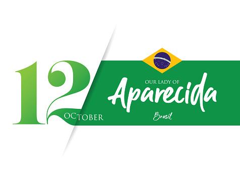 Our Lady Aparecida with Brazil flag stock illustration