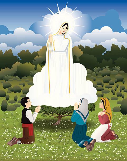 unsere dame von fatima - jungfrau stock-grafiken, -clipart, -cartoons und -symbole