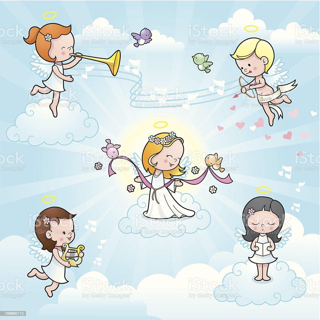 Our new angel cute kids celebration vector art illustration