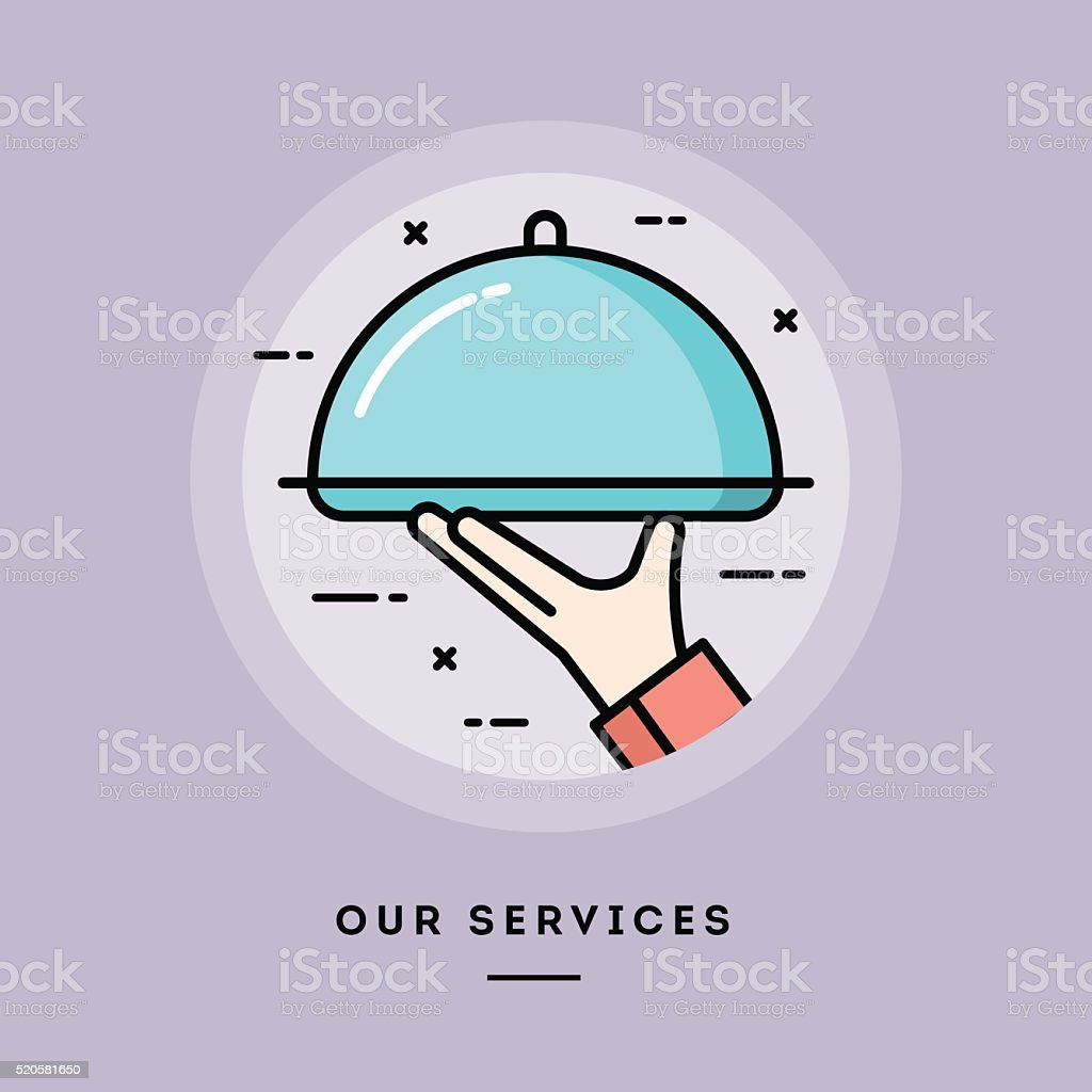 Our services, flat design thin line banner vector art illustration