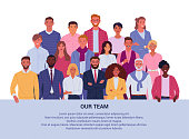 Vector illustration of group diverse business people and company members, standing behind the place for your text. Isolated on white.