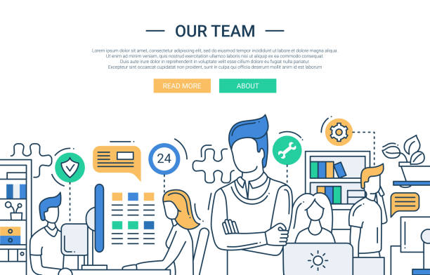 Notre équipe à la conception de bannière de ligne avec les employés de bureau. - Illustration vectorielle