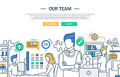 Our team line flat design banner with office workers.