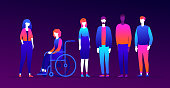 Our team - modern flat design style illustration on purple background. High quality composition with international business people, colleagues with different physical abilities. Teamwork concept