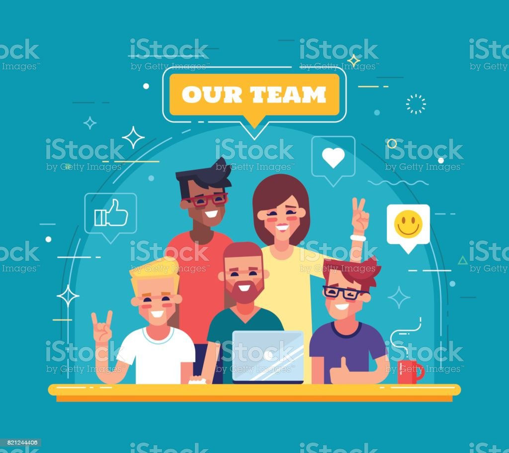 Our team - modern flat vector illustration. Group of positive people. vector art illustration