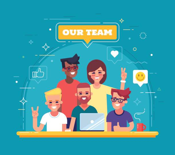 Our team - modern flat vector illustration. Group of positive people. Our team - modern flat vector illustration. Group of positive people. colleague stock illustrations